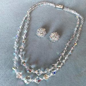 Vintage 1960s Aurora Borealis Crystal Beaded Necklace and Clip On Dome Earrings